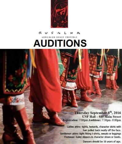 Rusalka Ukrainian Dance Ensemble Auditions @ UNF Hall | Winnipeg | Manitoba | Canada